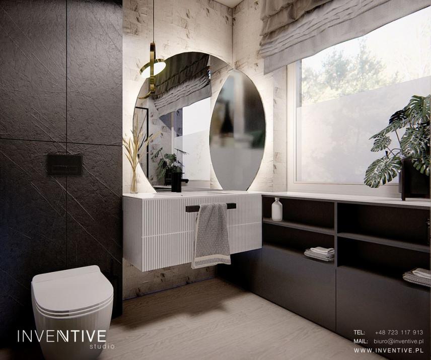 Stylowa łazienka z roletami rzymskimi