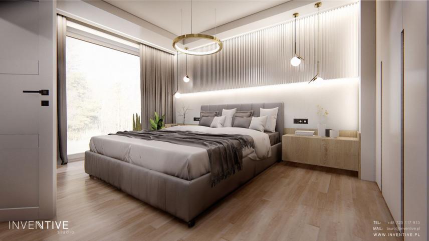 Sypialnia z łóżkiem  z tapicerowanym zagłówkiem