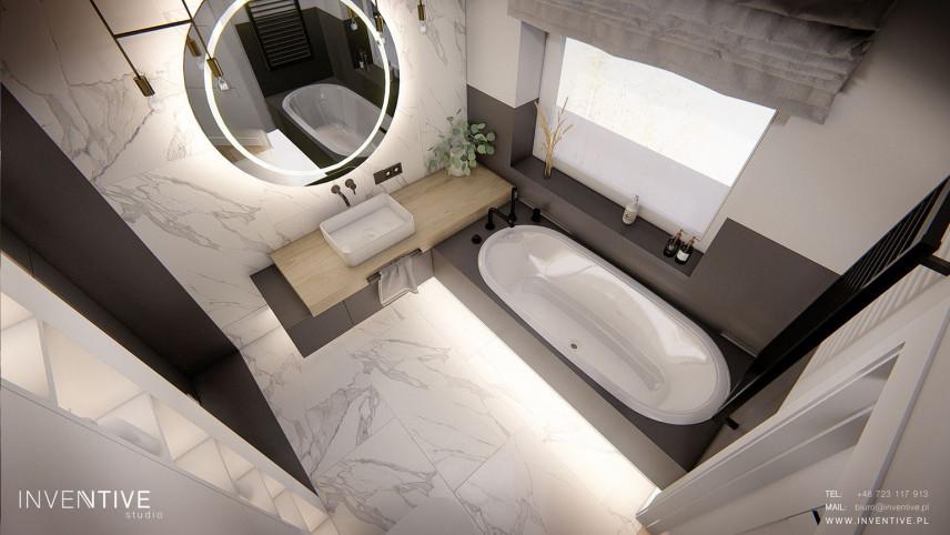 Rzut z góry na nowoczesną łazienkę