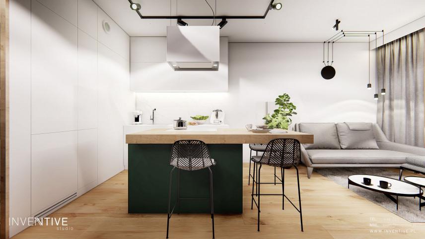 Aneks kuchenny połączony z małym salonem