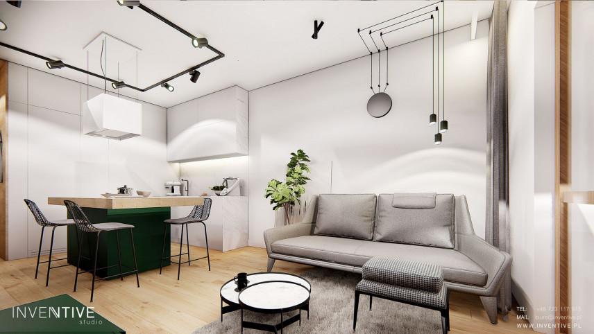Salon z aneksem kuchennym w stylu loft