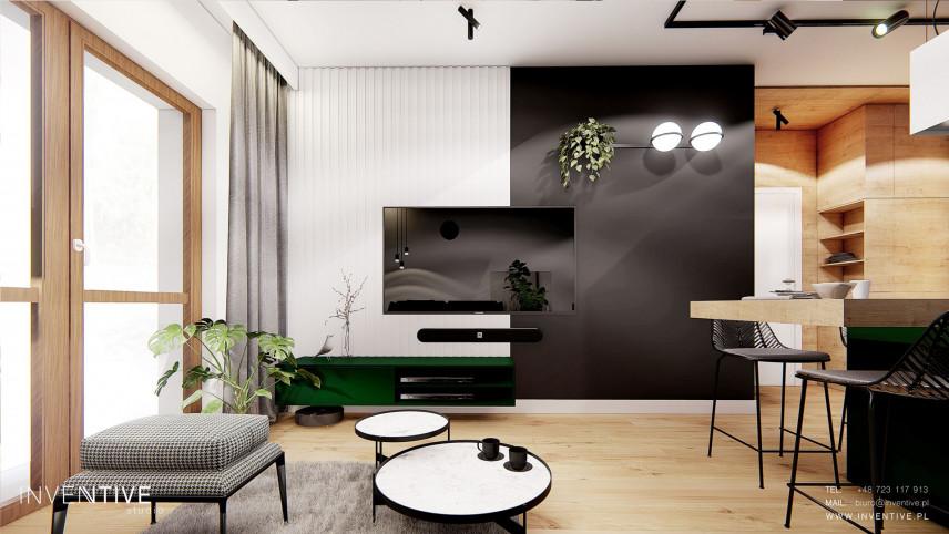 Czarno-biała ściana z telewizorem