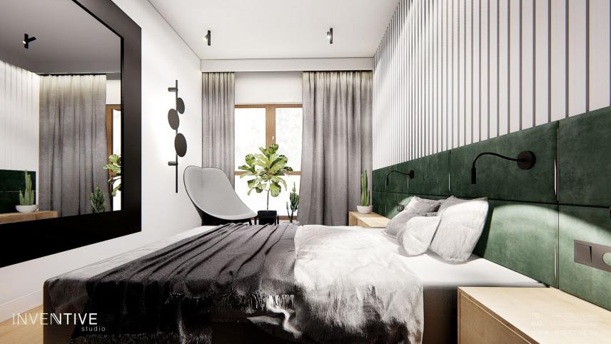 Stylowa sypialnia  z lustrem i oknem
