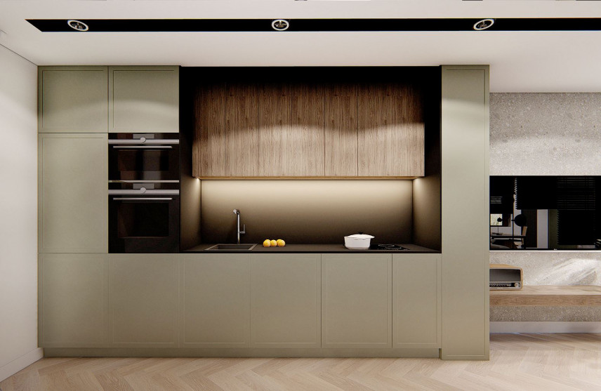 Aneks kuchenny oliwkowo-brązowy