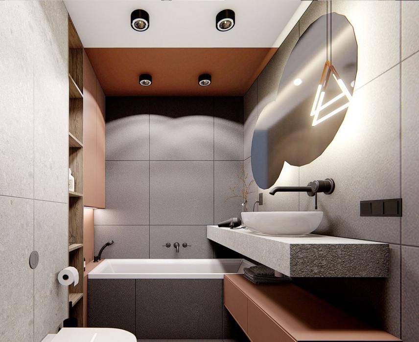 Designerska łazienka w szarościach i brązach