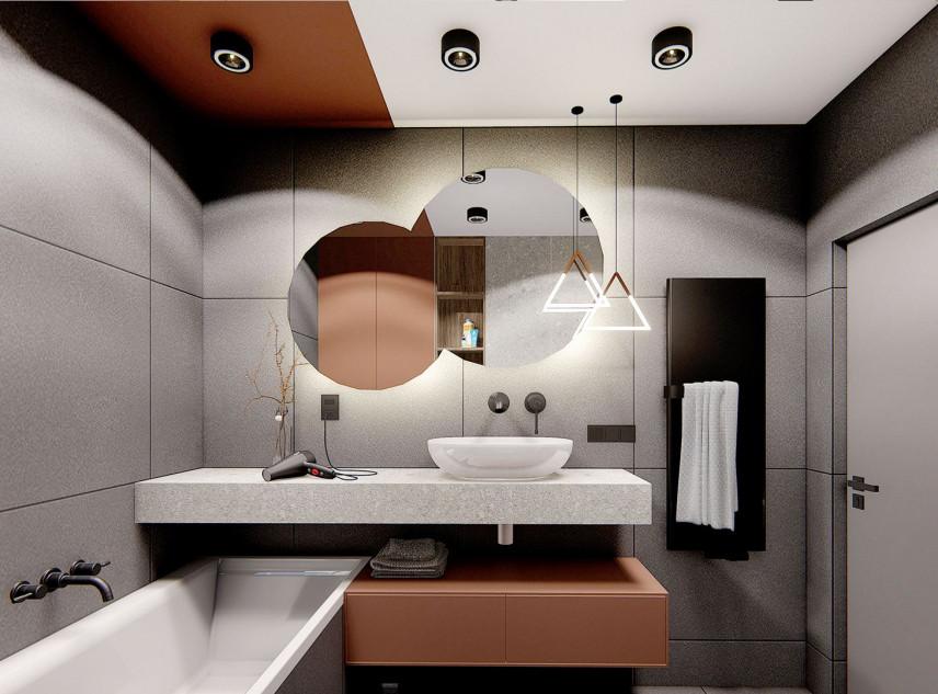 Stylowa łazienka z wanną w kolorze szarym i brązowym