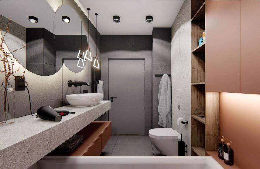 Designerska łazienka z granitowym blatem