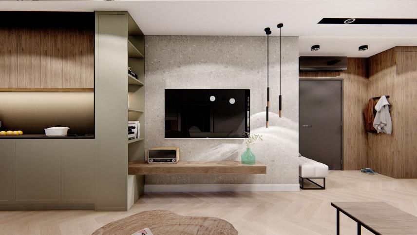 Ściana z dekoracyjnego betonu z telewizorem