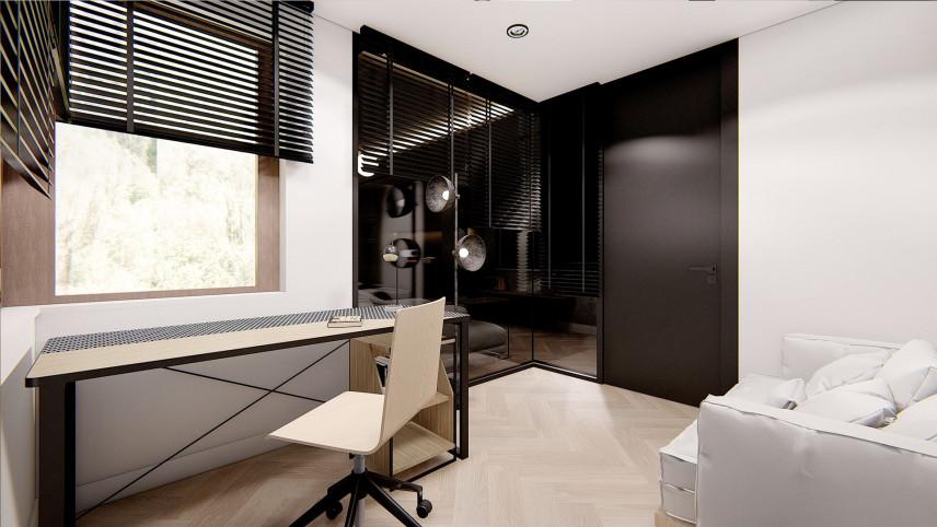 Czarno- białe biuro z żaluzjami
