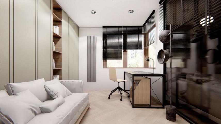 Niewielkie biuro z kolorze oliwkowo-czarno-białym