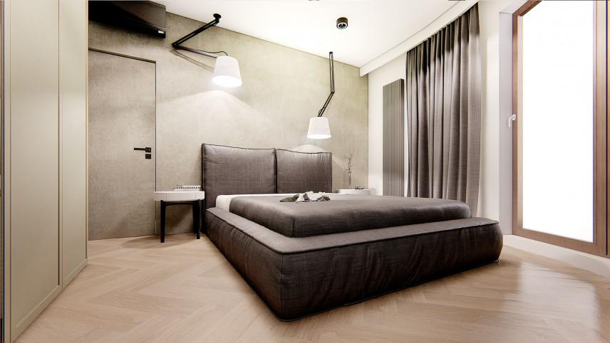 Sypialnia w minimalistycznym stylu z kontynentalnym łóżkiem
