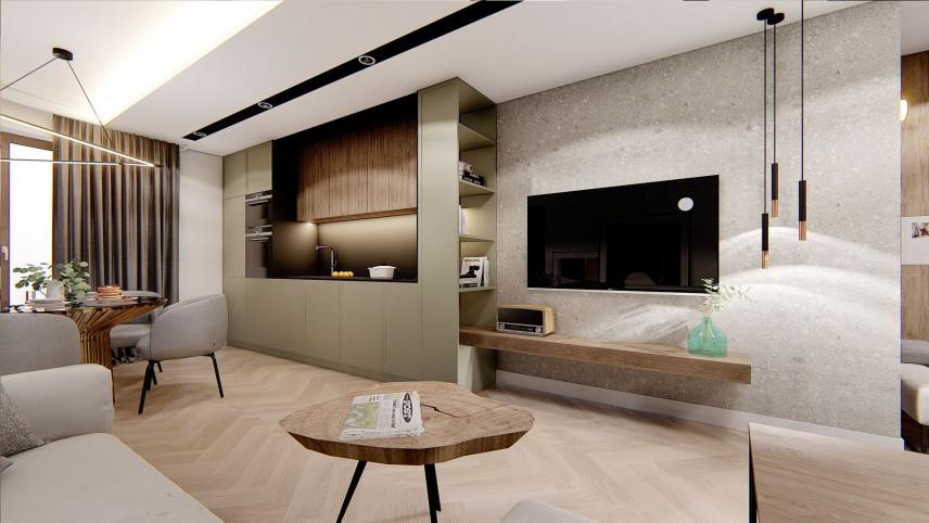 Salon w stylu japandi z telewizorem