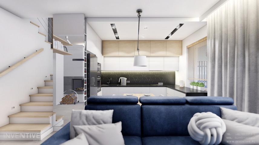 Salon połączony z kuchnią w kształcie litery l