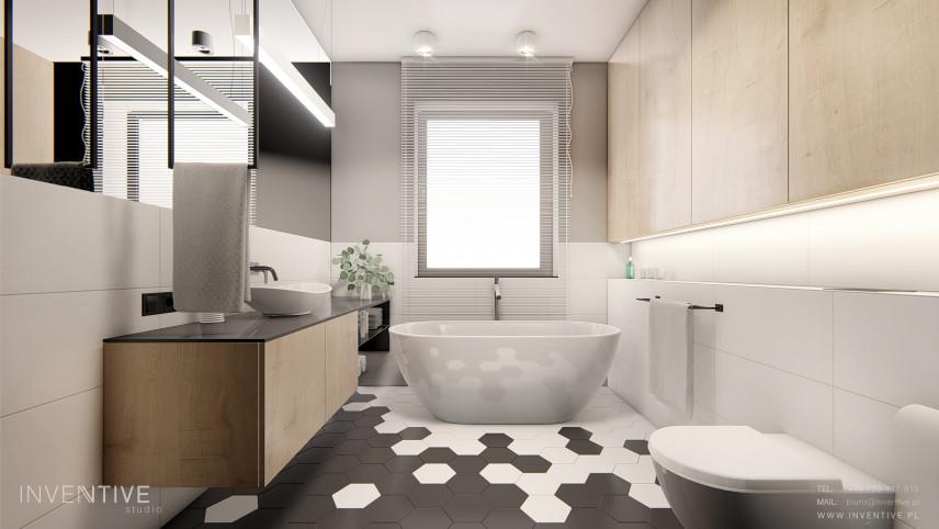 Łazienka w stylu scandi z szafkami