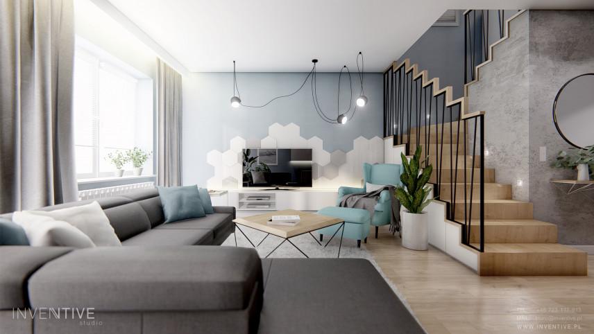 Salon w chłodnych kolorach z telewizorem