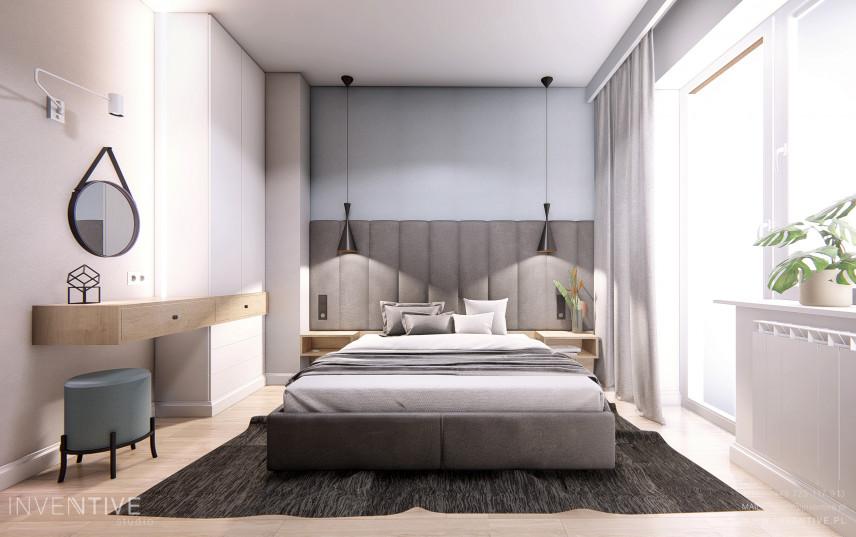 Sypialnia z kontynentalnym łóżkiem