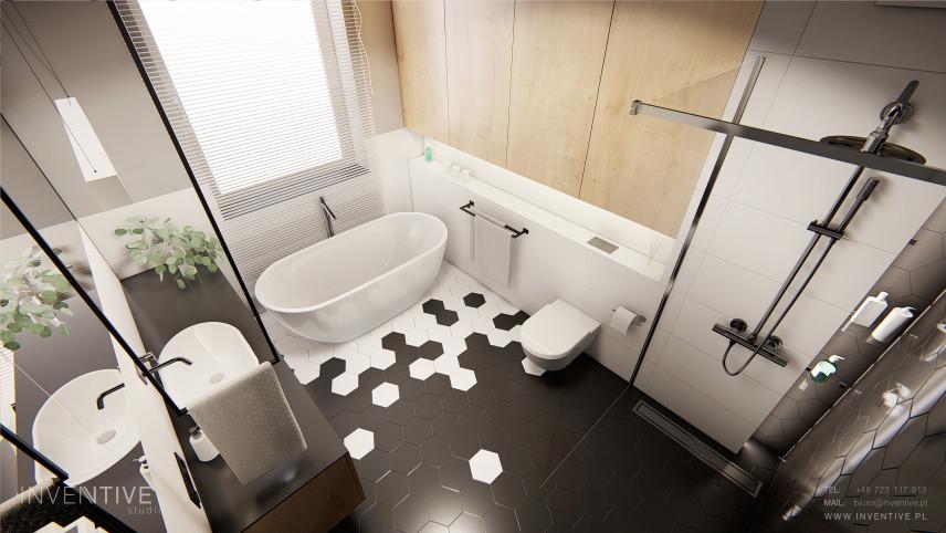 Łazienka z wanna i prysznicem w stylu loft