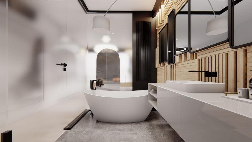 Projekt łazienki z boazerią na ścianie