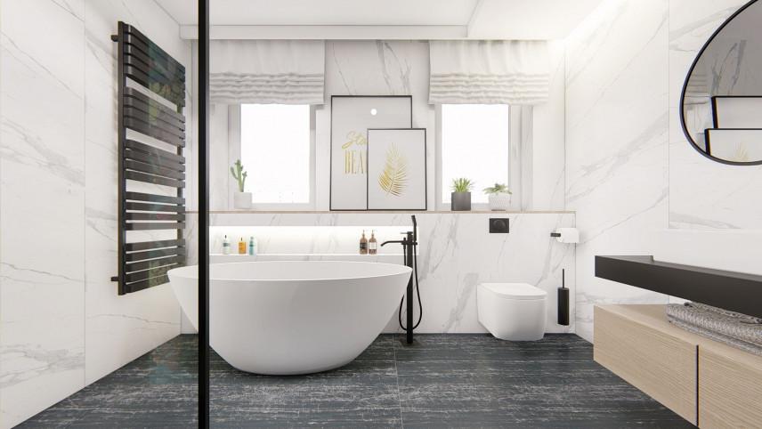 Projekt łazienki z wanną ceramiczną