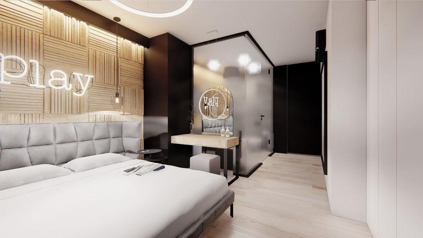 Projekt sypialni z drewnianą ścianą