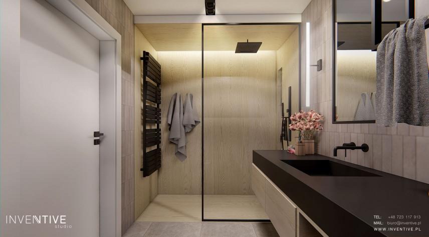 Projekt łazienki z prysznicem typu walk - in