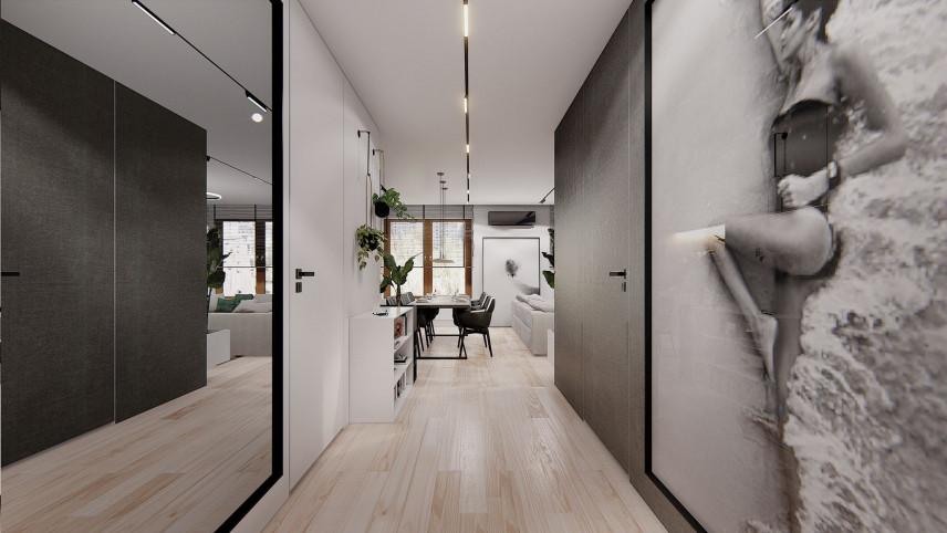 Projekt korytarza z modną tapetą na ścianie