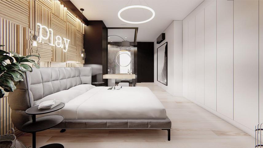 Projekt sypialni z tapicerowanym łóżkiem kontynentalnym