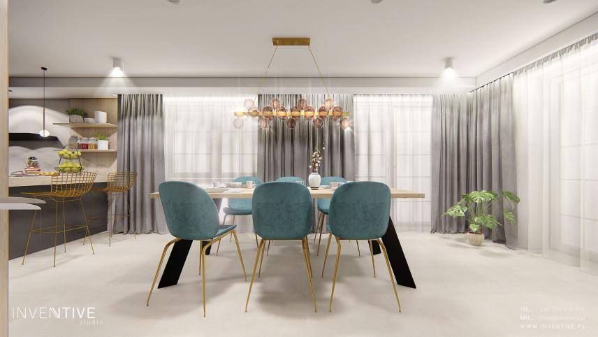 Projekt jadalni z turkusowymi krzesłami