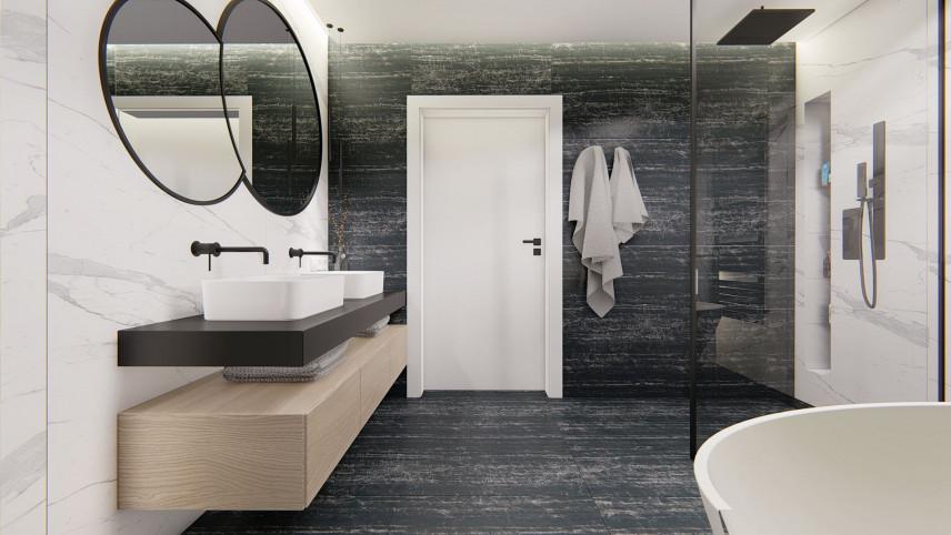 Projekt łazienki ze zlewami stojącymi na blacie
