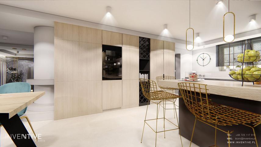 Projekt kuchni z designerskimi hokerami