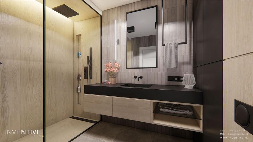 Projekt łazienki z prostokątnym lustrem