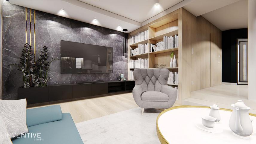 Projekt salonu z ciemnym marmurem na ścianie
