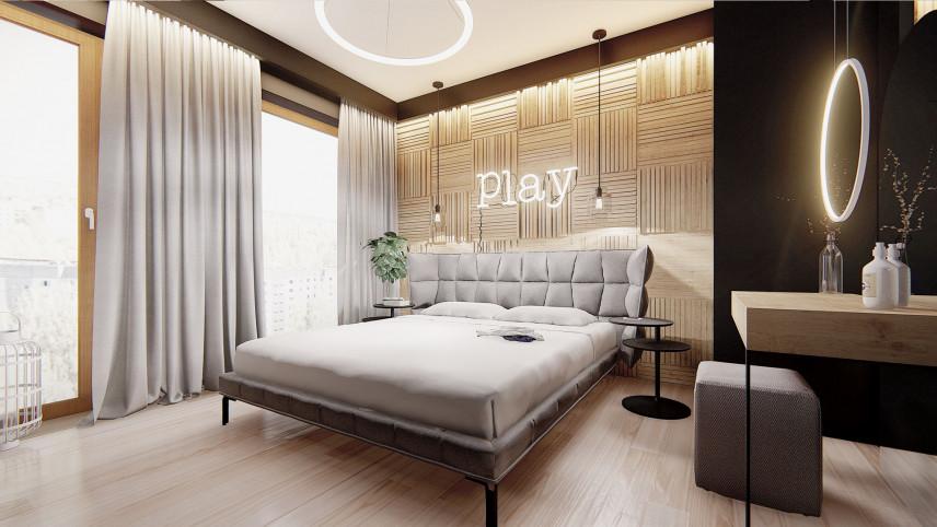 Projekt sypialni z jasnymi panelami
