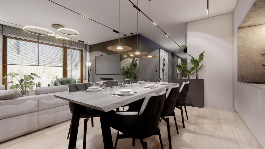Projekt salonu z jadalnią w stylu Art Deco
