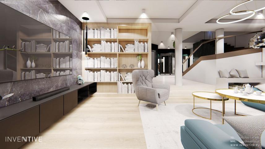 Projekt salonu z biblioteczką