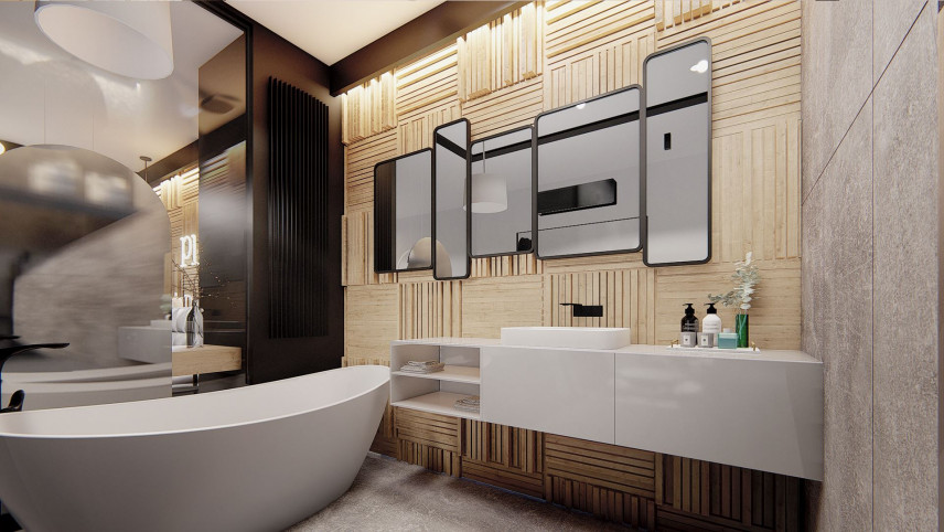 Projekt łazienki z drewnianą ścianą