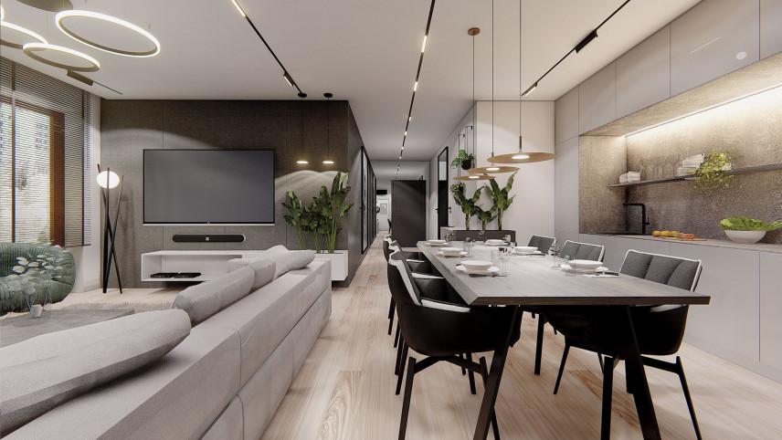 Projekt salonu z betonem architektonicznym na ścianie
