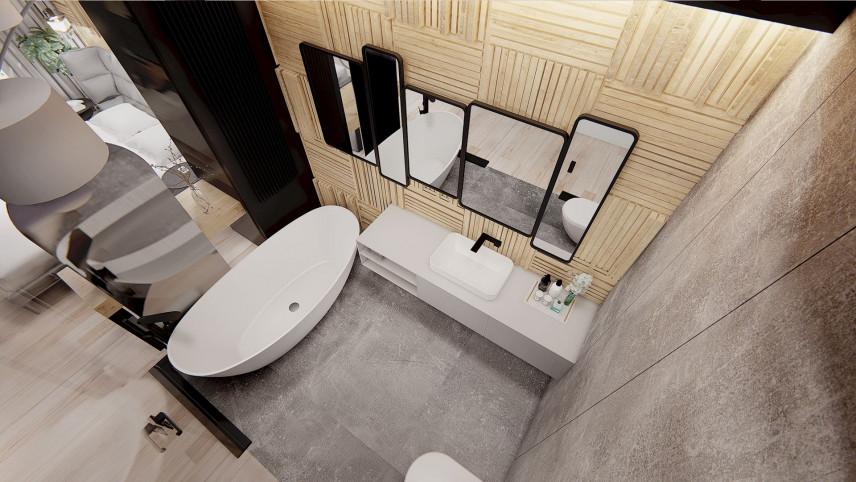 Projekt małej łazienki z wanną owalną