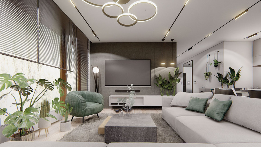Projekt salonu z zielonym fotelem