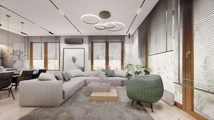 Projekt salonu z dużymi oknami