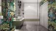Projekt łazienki z białą szafą w zabudowie