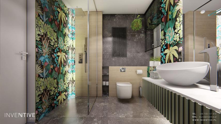 Projekt łazienki z szarą podłogą