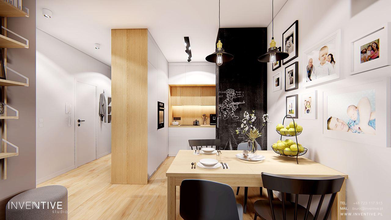 Salon z aneksem kuchennym w stylu scandi