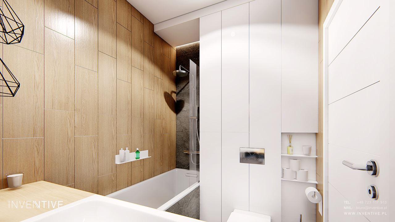 Mała łazienka drewniano-biała