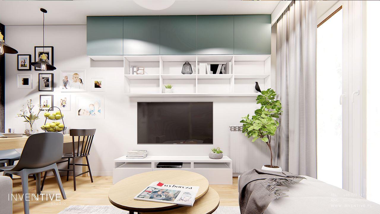 Salon w stylu skandynawskim z telewizorem