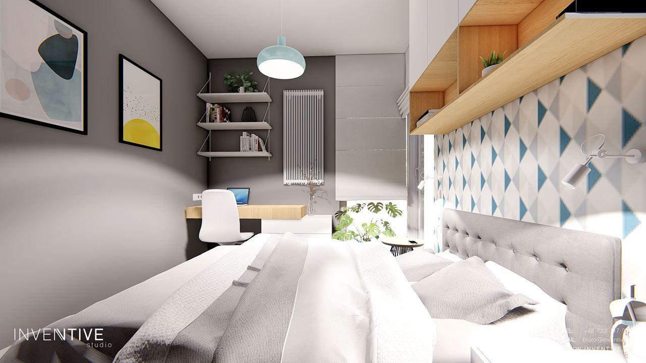 Szara sypialnia z miejscem do pracy
