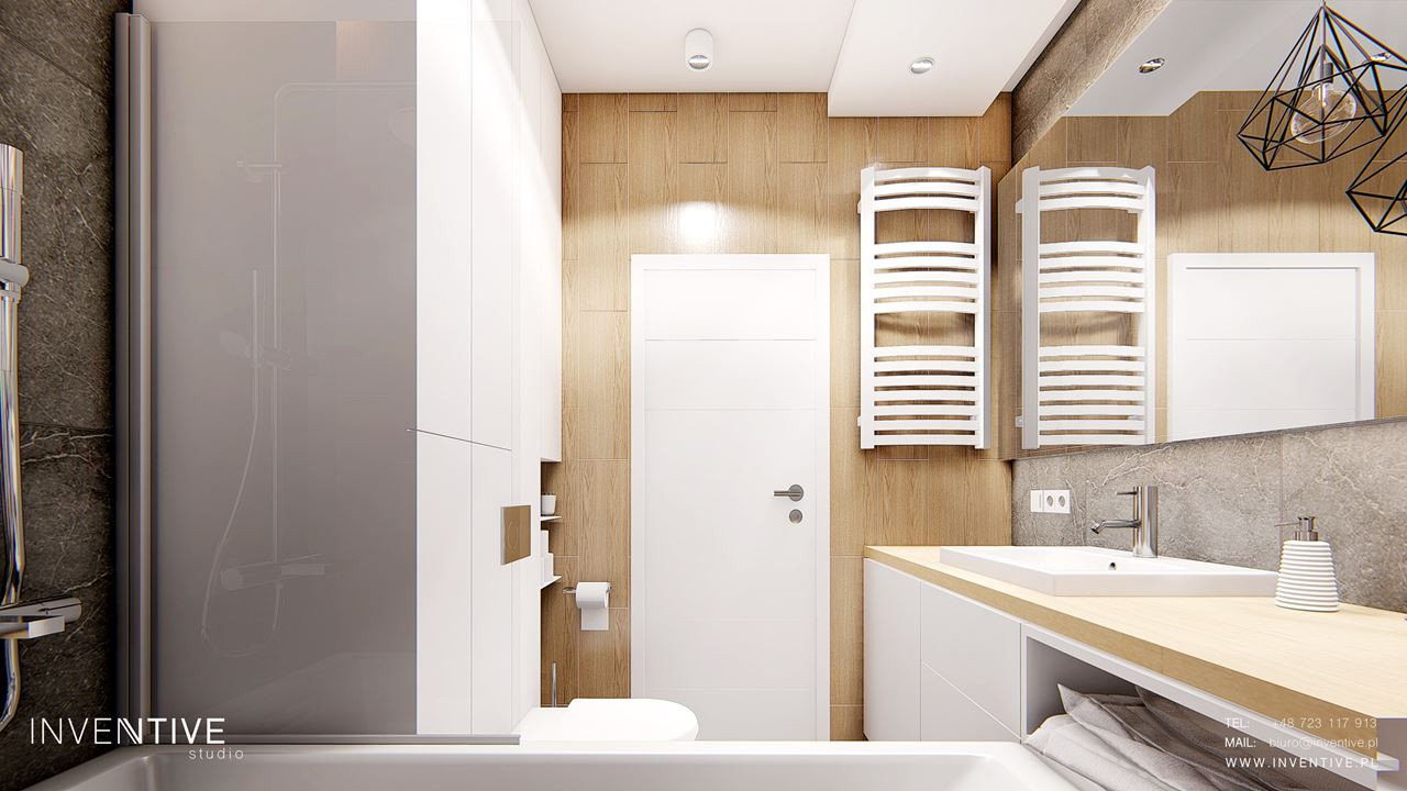 Łazienka w stylu skandynawskim z drewnem na ścianie