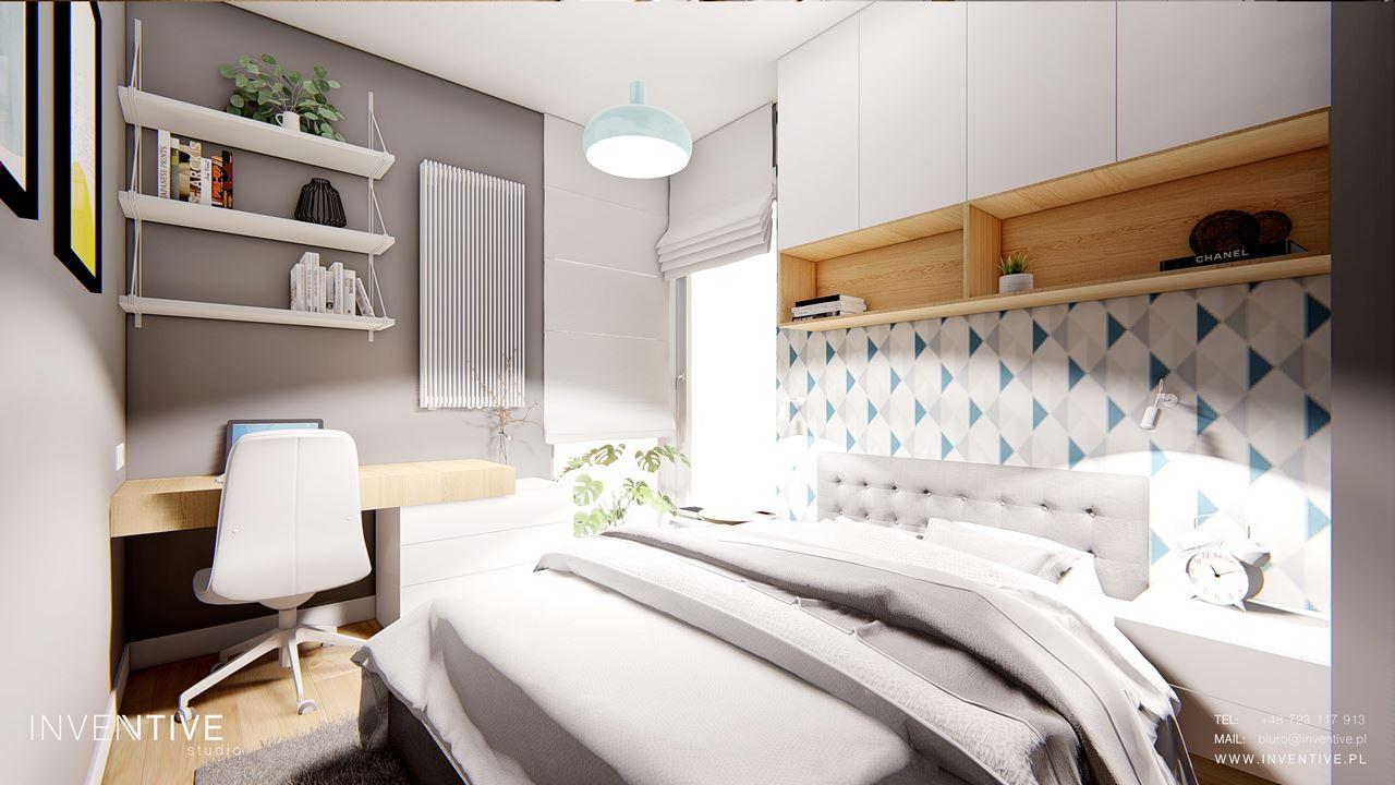 Mała sypialnia w stylu scandi
