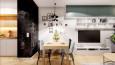 Salon z jadalnią i kuchnią w stylu skandynawskim