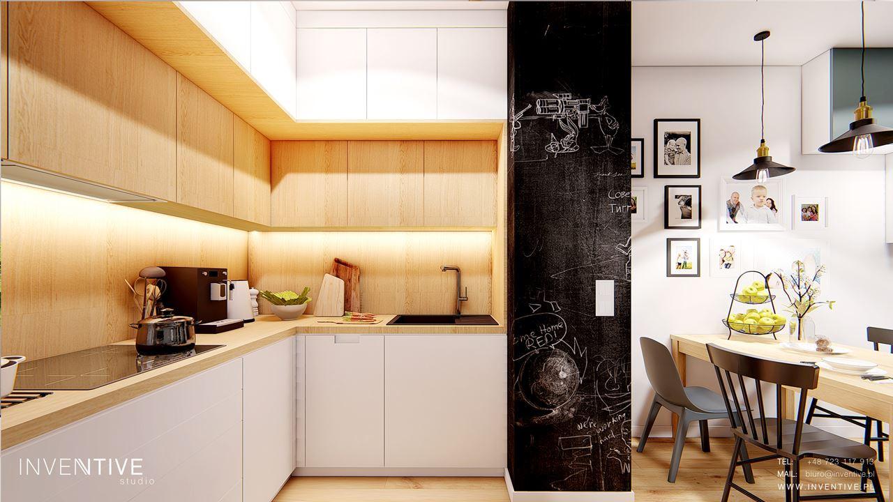 Aneks kuchenny z tablicową ścianą